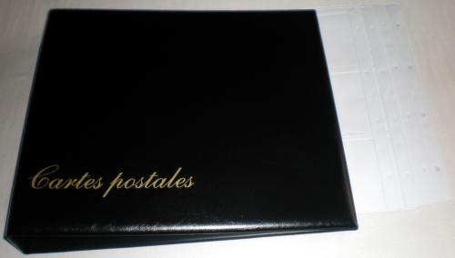 Album luxe pour cartes postales de couleur noir simili cuir ouatiné, reliure garnie de 15 ...
