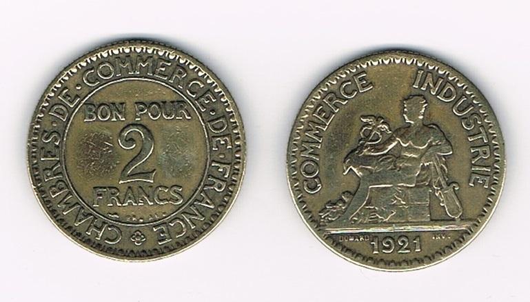 Pi ce bon pou 2 francs 1921 assez rare villers collections for Chambre de commerce de france bon pour 2 francs