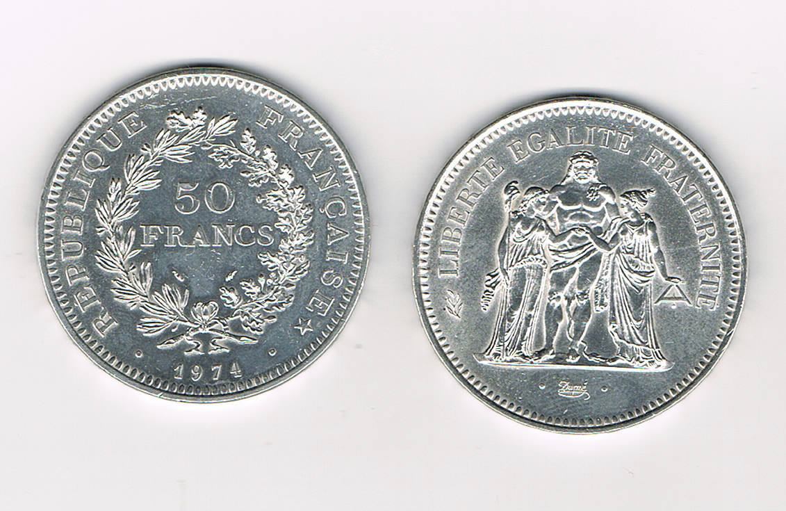 Piece Francaise 50 Francs Argent 1974 Hercule Villers Collections