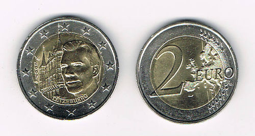 Pièce 2Euro Luxembourg 2007 Palais Grand Ducal rare