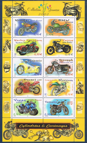 Timbres de France bloc feuillet émis en 2002. Réf Yvert & Tellier N° 51 neuf.  Description: Collection  jeunesse. Cylindrées et carénages. Prix en baisse sur ce feuillet.