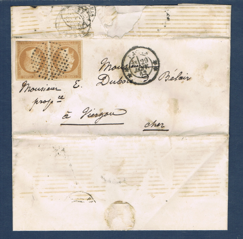 Timbres poste de France second Empire type Napoléon III. Légende Empire
