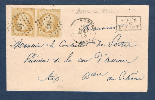Timbres de France second empire type Napoléon III. Légende empire Franc. Timbres avec  oblitérations spéciales losanges petits chiffres. Réf Yvert & Tellier N°13 sur lettre type 10 c non dentelé.