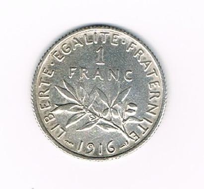 pi ce de monnaie fran aise 1 franc semeuse argent 1916 tat superbe description monnaie 1. Black Bedroom Furniture Sets. Home Design Ideas