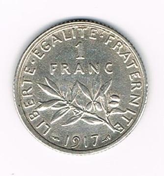 pi ce de monnaie fran aise 1 franc semeuse argent 1917. Black Bedroom Furniture Sets. Home Design Ideas
