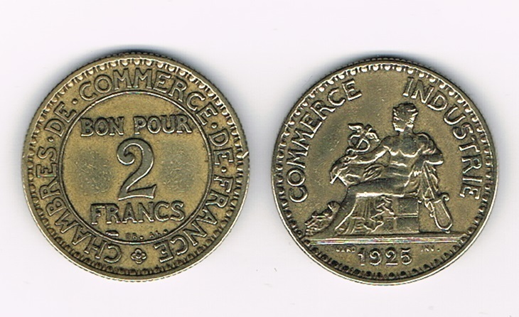 Pi ce bon pour 2 francs 1925 chambre villers collections for Bon pour 1 franc chambre de commerce