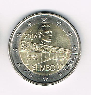 Pièce 2€ Luxembourg 2016 Pont Grande Duchesse Charlotte