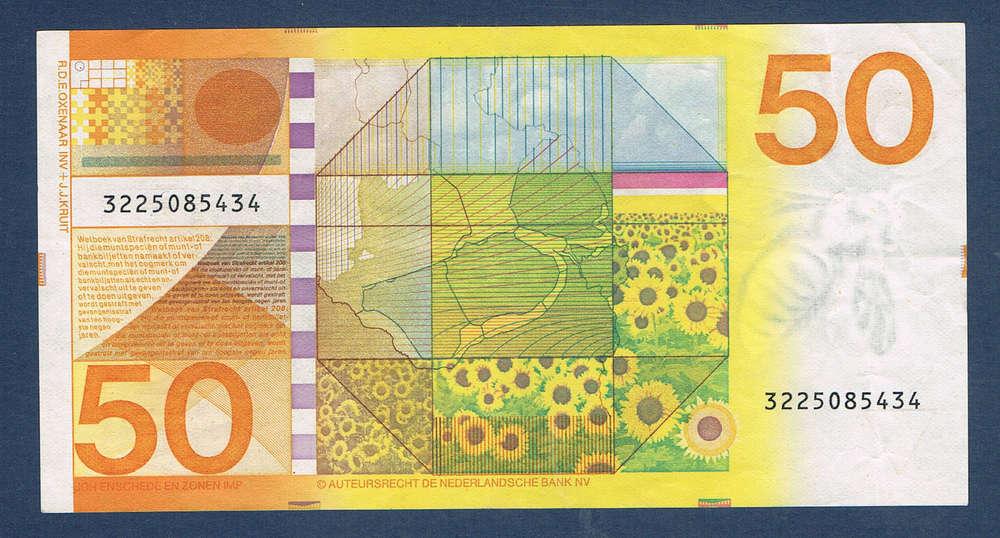 billet banque 50 gulden pays bas de néderlandsche bank 1982