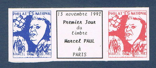 Vignette Philat'EG National Marcel Paul bleu blanc rouge
