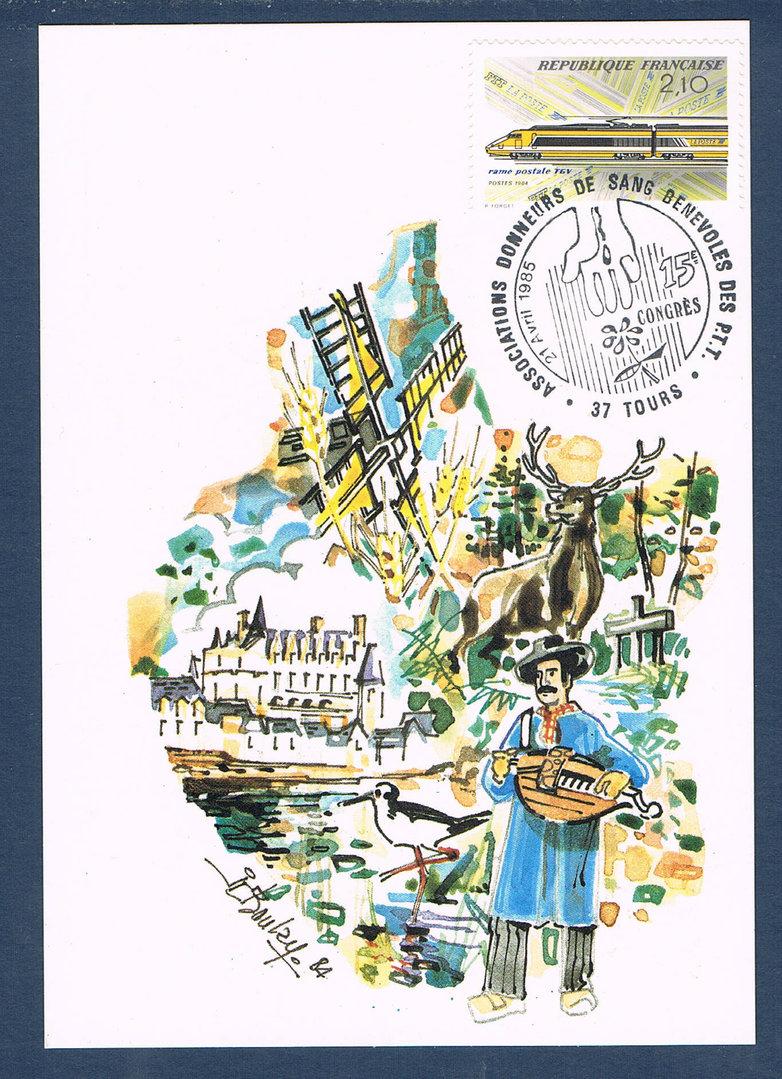 Carte Postale + Enveloppe Rame postale TGV - VILLERS COLLECTIONS