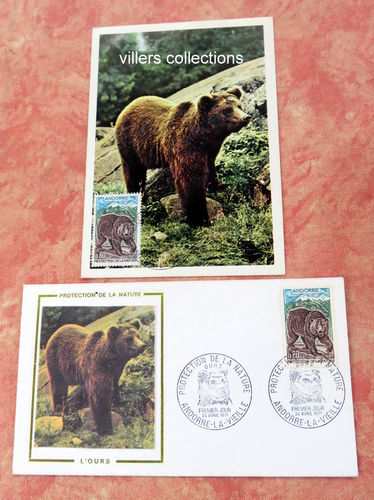 Carte + Enveloppe FDC Andorre Ours Protection la nature