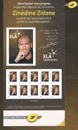 Collector 10 timbres Zinédine Zidane Association ELA Promo