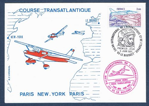 Enveloppe course Transatlantique Le Bourget Paris New .York Paris