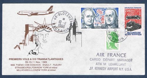 Enveloppe Avion Air France Cargo départ Manager J.F Kennedy