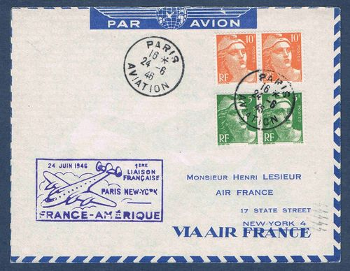 Lettre par Avion France Amérique 1er liaison Paris NEW-YORK